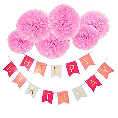 Happy Birthday Girlande Set, Wartoon Habby Birthday Alles Gute Zum