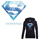 #10: TOTAL HOME Blue Superman Mark Sticker Patch T-Shirt Dresses Sweater Thermal Transfer Patches for Clothing Easy Print by Household Irons (Pack of 1)