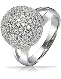 Bling Jewelry paver encrusted Boule disco Argent Sterling Cocktail Ring