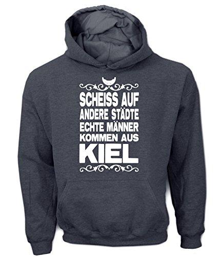 Artdiktat Herren Hoodie - Scheiß auf andere Städte - Echte Männer kommen aus Kiel Größe XXL, graphit