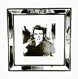 Bilderrahmen Spiegelrahmen 30 x 30 cm mit James Dean Papier Passepartout aus Glas zum Aufhängen, schwarz mit Spiegelrand