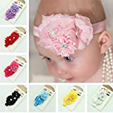 Voberry Baby-Girl's s Headbands Handmade Pearl Chiffon Flower Elastic Hairband One Size Red