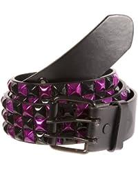 Accessoryo - métallique 3 rangée chèque noir et violet ceinture cloutée noire disponible dans une sélection de tailles
