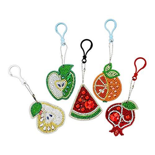 P Prettyia Schlüsselanhänger, Taschenanhänger, 5D Diamant Früchte Anhänger, Deko-anhänger für Schlüsselbund, Auto, Damentasche