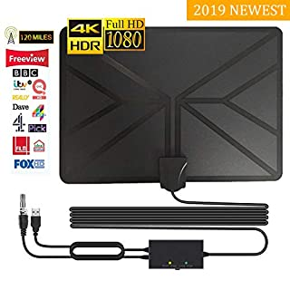 TV Aerial,Amplified Digital HDTV Antenna Free TV Flat 120+ Mile Range for Digital Freeview and Analog TV Signals Support 4K 1080P HD/VHF/UHF Channels for All Types 2019 Upgrade (16.5ft)