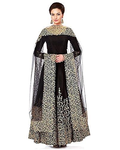 Shree Sai Creation Women's Cotton Silk Semi-Stitched Gown (Free Size) Black3030