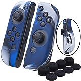 YoRHa Empuñadura silicona caso piel Fundas protectores cubierta para Nintendo Switch/NS/NX Joy-Con Mando x 2 (Camuflaje azul) Con Joy-Con los puños pulgar thumb gripsx 8