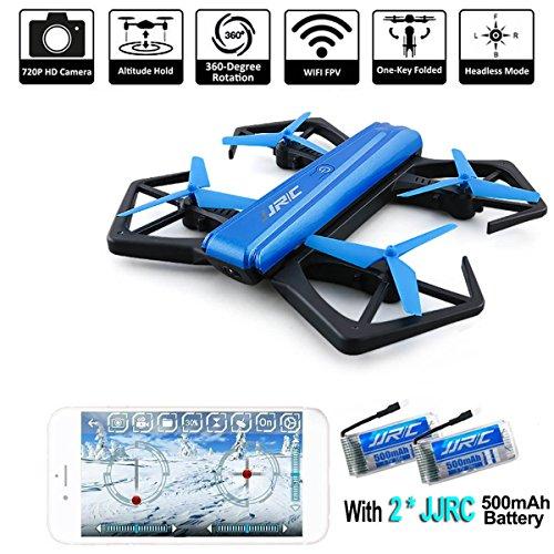 *JJRC Drone, Selfie Drohne mit 720P Kamera, Wifi FPV Drone (Höhe halten, 5 Minuten Flugzeit, G-Sensor-Modus, 360-Grad-Drehung, Headless-Modus) Klappbare Arms Pocket Drohne H43WH für Kinder Spielzeug by LITEBEE*