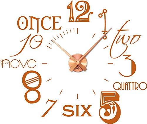 Graz Design Wandtattoo Wanduhr mit Zahlen in mehreren Sprachen, Holz, Noisette (083), Horloge couleur cuivre