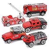 AOLVO 5er Militärfahrzeuge Wohnmobil Spielzeugauto Set ab 3 Jahre, 1:64 Mini Spielautos Metall Set mit Panzer Hubschrauber Geländewagen Raketenfahrzeuge Gepanzerte Fahrzeuge für Kinder