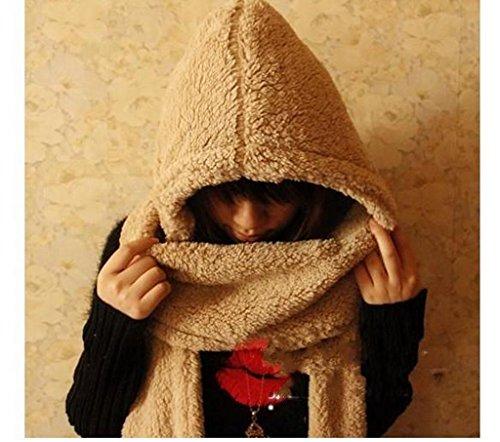 Bigood Écharpe à Capuchon Femme Cachemire Gants Chapeau Hiver 135*90cm Kaki