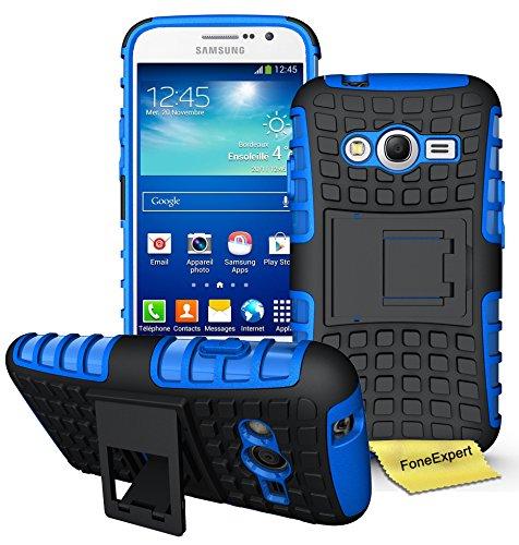 Samsung Galaxy Grand Neo Plus Funda, FoneExpert® Heavy Duty silicona híbrida con soporte Cáscara de Cubierta Protectora de Doble Capa Funda Caso para Samsung Galaxy Grand Neo Plus i9060 / Galaxy Grand Neo + Protector Pantalla (Azul)