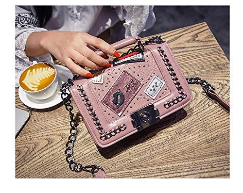 Pamabag Umhängetasche Damen,Lässige Mode Kleine Duft Abzeichen Handtasche Kleine Quadratische Tasche Chic Kette Crossbody-Tasche Multi-Portable Schulter Messenger Bag Pink Funktion -