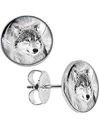 Blazing Blue Eyed Night Wolf Stud Earrings