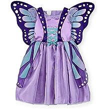 Koala Kids Deluxe Schmetterling Mädchen Halloween Fasching Karneval Kostüm Kleid mit Flügel Lila Butterfly