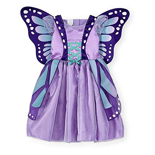 Koala Kids Deluxe Schmetterling Mädchen Halloween Fasching Karneval Kostüm Kleid mit Flügel Lila Butterfly (68/74)