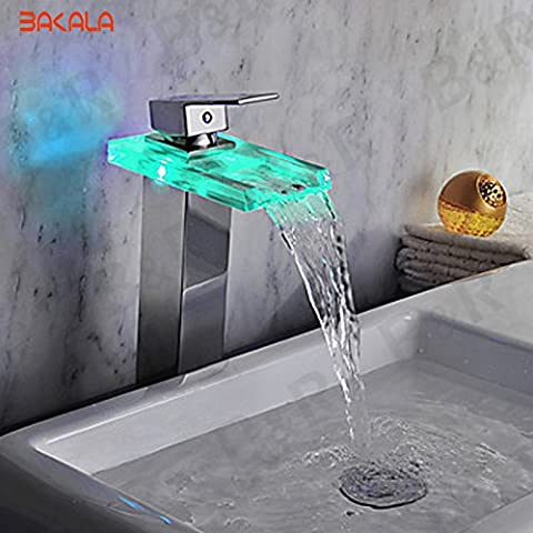 Deluxe Faucet Glass Sink Faucet Led Color Change Waterfall Tap Chrome Led Single Lever Bathroom Led Water Faucet Light Faucet Lh-8059-2