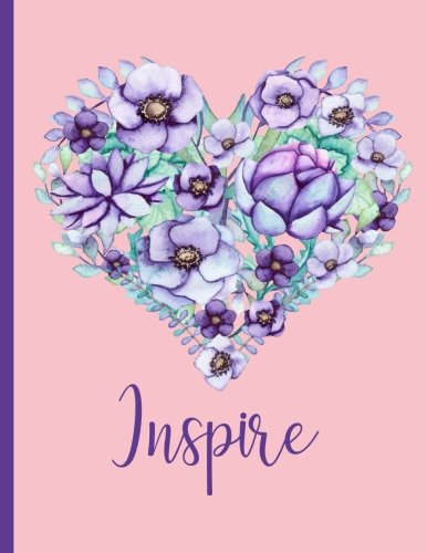 Inspire Journal (Notebook, Diary) Inspiration: Bubble Gum Pink Colorful Cover, Watercolor Floral Heart 110 Inspirational Quotes Inside, Inspirational ... Journal Christian, Journal LARGE - Floral Print Bubble