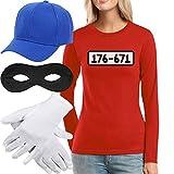 Shirtgeil Panzerknacker Kostüm Langarm-Shirt + MÜTZE + Maske + Handschuhe Frauen Langarm-T-Shirt Large Rot