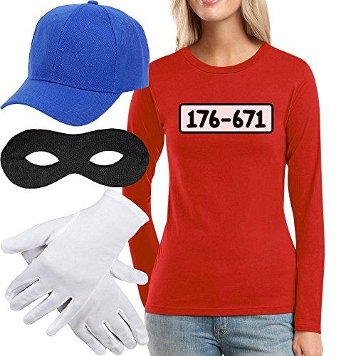 Panzerknacker Kostüm Langarm-Shirt + MÜTZE + Maske + Handschuhe Frauen Langarm-T-Shirt Medium - Billig Disney Kostüm