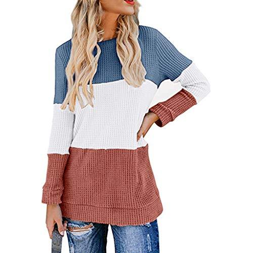 Dorical Langarmshirts Pullover für Frauen, Damen Rundhals Oversize Tshirts Pulli Damen Herbst Bluse Oberteile Casual Sweater(Z03-Blau,Small)