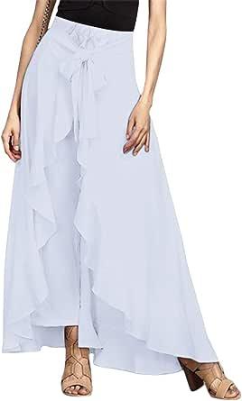 Uranus Pantaloni da Donna Casual Loose Fit A Vita Alta Flowy Ruffle Pantaloni di Palazzo
