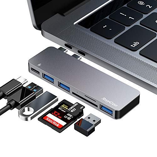 ZILI USB C Hub, Typ C 6 in 1 Hub Adapter, 3 USB 3.0 Anschlüsse, TF/SD Kartenleser, USB C Stromversorgung, Aluminium-Adapter für MacBook Pro 13