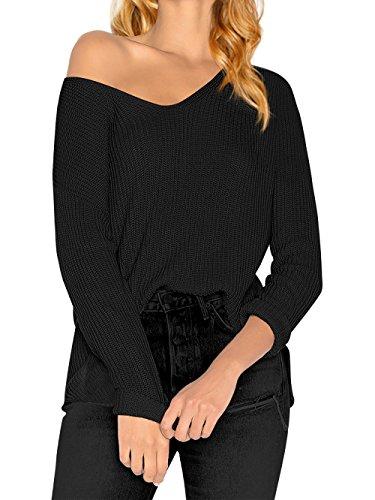 HENCY Damen Lose Pullover Langarm Strickpullover Pulli Sweater Übergröße V Ausschnitt Herbst Winter Schwarz