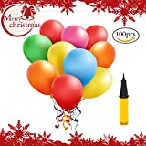 Weihnachten Party Deko Luftballons Bunt 100 Stueck, Helium Luftballons, Pumpe Luftballons Bunte Ballons Dekorationen für Party Geburtstags kindergeburtstag Hochzeit( 100 Stück )