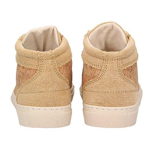 ZWEIGUT® -Hamburg- echt #403 Damen High-Top Kork Sneaker vegan Schuhe mit Canvas und recycelter Sohle, Schuhgröße:39, Farbe:sand-kork - 4