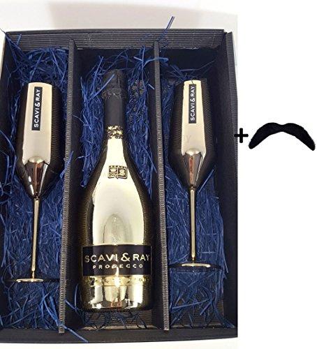 (SCAVI & RAY Set / Geschenkset - MOMENTO D'ORO Millesimato GOLD 0,75l (11% Vol) + 2 Gläser)