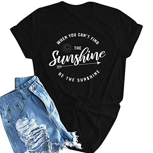 wolle Shirt Sommer Einfarbig Rundhals Kurzarm Briefdruck T-Shirt Bluse Freizeit Große Größe Täglich Basic Sommer Shirt Kurzarmshirt ()