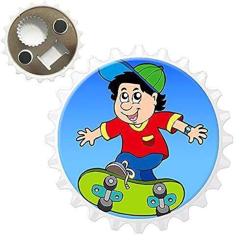 Freddo Skater Boy Skateboard da equitazione con tappo apribottiglie magnete per frigorifero