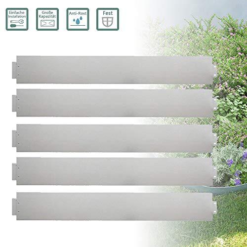 Froadp 20tlg 100x18cm Rasenkante Beetumrandung Verzinkt Metall Anpassbare Hausgemacht Pflanzkasten Gartenbeet für Gartenpflanzen Gemüseanbau Kräuteranbau Floral(20mx18cm) Floral Aus Metall