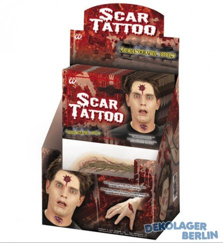 WIDMANN 4088T Scar Wound Tattoo Halloween, sortiert (Für Duo-kostüm-ideen Mädchen)
