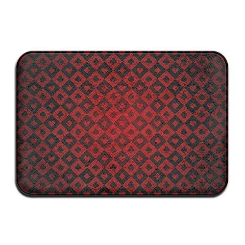 Zhengzho Fußmatte Indoor-Fußmatte Spielkarten Rote Vordertürmatten Teppich Personalisierte Matte für Badezimmer Küche Schlafzimmer Eingangsbereich Fußmatten, Rutschfester Gummi, 40 x 60 cm