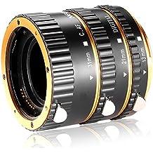 Neewer 3 Piezas Set de Tubo de Extensión Macro de Metal Auto Focus 13mm,21mm,31mm para Canon EOS EF EF-S Lente Cámaras DSLR, tales como Canon 7D Mark II,5D Mark II III IV,1300D,1200D,750D,700D,600D,80D,70D,60D(oro)