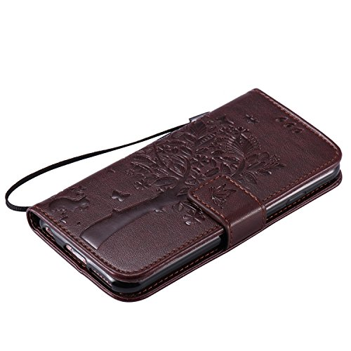 Apple iPhone 6/6S Coque,Etsue Fine Folio Cuir Coque de Téléphone Mobile pour Apple iPhone 6/6S,Raffinement Degré Supérieur Mode Leather Case étui [Relief Arbre Grise Motif] pour Apple iPhone 6/6S,Cart Relief Arbre Marron