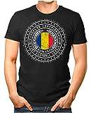OM3® - Romania - Herren T-Shirt Rumänien Wappen Fußball Trikot EM'16 WM Championship Vintage Schwarz XXL