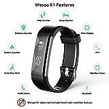 Fitness Tracker, Wesoo K1 Fitness Watch: Tracker Attività Smart Band con Monitoraggio del Sonno, Braccialetto Smart Pedometro Cinturino con Banda Sostitutiva per iOS e Android (Braccialetto Nero + Blu)