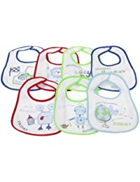 Baby Patterned 7 Days Of The Week Bibs in Boys & Girls Options (Pack of 7) (0-6 Months) (Blue)