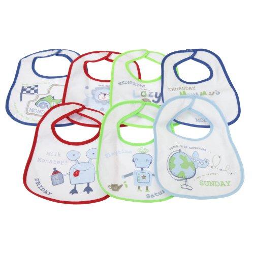 Baby 7 Wochentage Lätzchen für Jungen und Mädchen, 7 Stück (0-6 Monate) (Blau) (Blaue Mädchen 2 Stück)