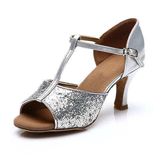 HROYL Damen Tanzschuhe/Latin Dance Schuhe Satin Ballsaal Modell-D7-216 Silber EU39 - 2