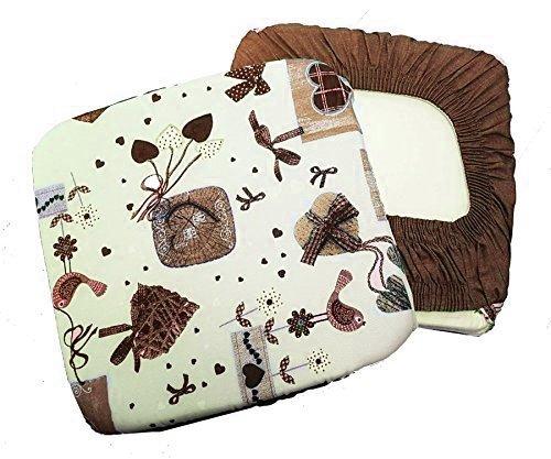 Takestop® set 6 coprisedia cuscini marrone panna fiocco cuori con fascia elastico cuscino per sedie imbottito sfoderabile shabby chic
