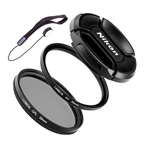 LUMOS Starter 55mm Filter Set Objektiv Zubehör uneingeschränkt kompatibel mit Nikon AF-P DX Nikkor 18-55mm f/3.5-5.6G VR und Nikon 1 Nikkor 10-100mm f/4-5.6 VR D3300 D5300 D5500 J1 J5