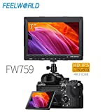 Feelworld FW759 7 Pulgadas On Cámara Field Monitor de Campo DSLR Camera Full HD Focus Video Assist 1280x800 IPS con 4K HDMI Input Output