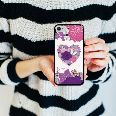Apple iPhone X Silikon Hülle Case Schutzhülle Herz Schmetterling Love Blumen Hard Case schwarz