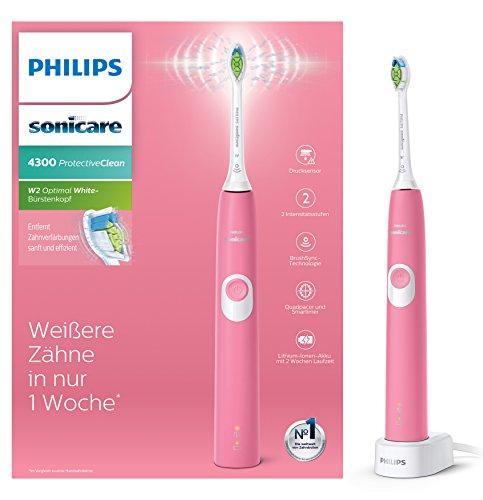 Philips Sonicare Protective Clean 4300 Brosse à dents électrique HX6805/28 Technologie du Son, Contrôle de la Pression, Rose