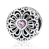 Liebe & Freundschaft, Pink CZ 925Sterling-Silber Amulett Pandora kompatibel mit europäischen Armbändern