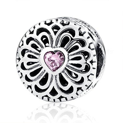 Ciondoli in argento sterling 925 con zirconia cubica rosa, compatibili con bracciali pandora, amore e amicizia